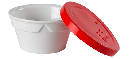bol porcelaine couvercle rouge